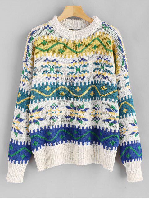 Rundhalsausschnitt Weihnachten Schneeflocke Graphic Sweater - Multi Eine Größe Mobile