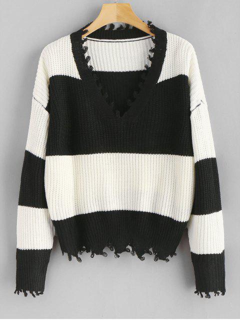 Pullover mit V-Ausschnitt, ausgefranste Streifen - Multi Eine Größe Mobile