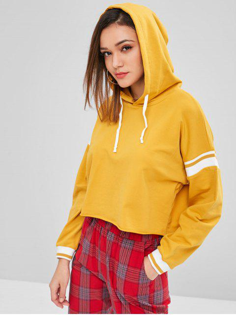 latest ZAFUL Raw Hem Stripes Panel Hoodie - BEE YELLOW L Mobile