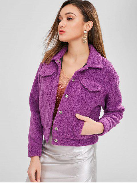 trendy ZAFUL Snap Button Faux Shearling Teddy Coat - VIOLET L Mobile