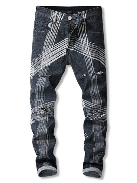 trendy Destroyed Straight Leg Striped Jeans - BLACK 42 Mobile