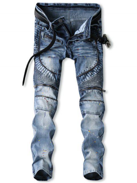 online Zip Fly Splatter Paint Biker Jeans - JEANS BLUE 38 Mobile