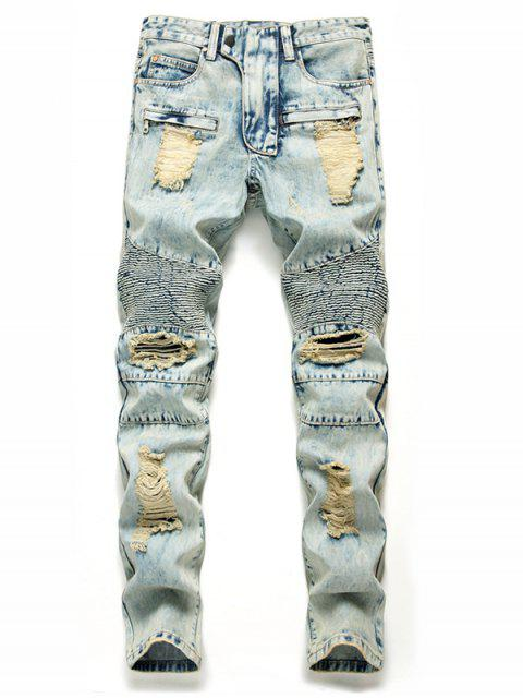fashion Zip Fly Destroyed Biker Jeans - BABY BLUE 38 Mobile