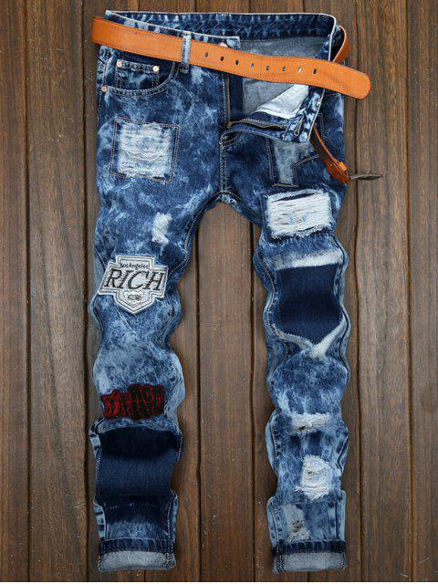 chic Star Embroidery Patch Embellished Cuffed Jeans - DENIM DARK BLUE 32 Mobile