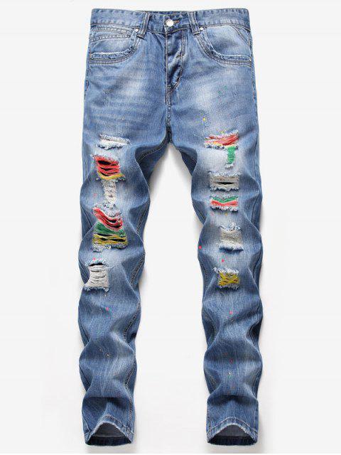 buy Destroyed Colorful Splashed Paint Jeans - DENIM BLUE 36 Mobile