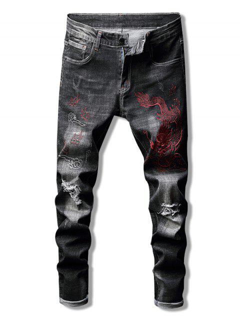 unique Dragon Embroidered Cuffed Jeans - BLACK 36 Mobile