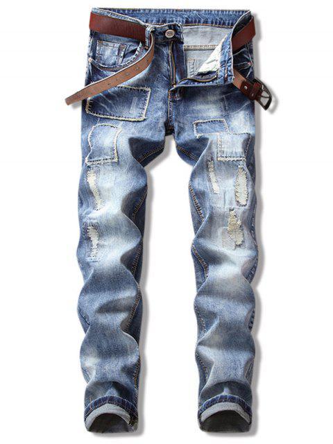 women Ripped Straight Leg Cuffed Jeans - DENIM DARK BLUE 40 Mobile