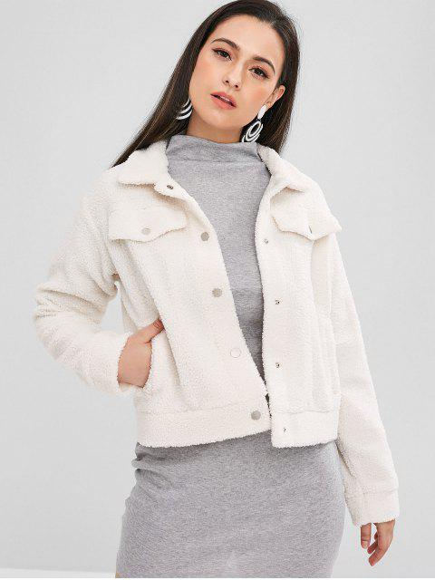 lady ZAFUL Press Stud Fluffy Faux Fur Short Coat - WARM WHITE S Mobile
