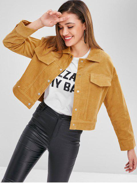 outfit ZAFUL Corduroy Jacket - MUSTARD S Mobile