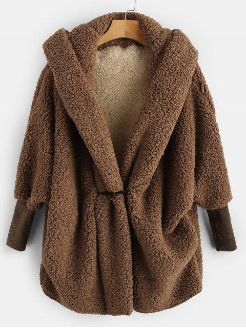 online Oversized Fluffy Teddy Winter Coat - COFFEE ONE SIZE Mobile
