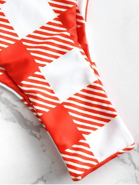 shops ZAFUL Plaid High Cut Bandeau Bikini Set - MULTI-A L Mobile