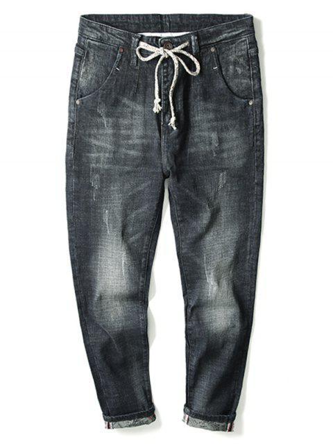 unique Light Wash Drawstring Cuffed Jeans - BLACK 40 Mobile