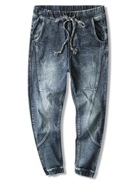 shops Light Wash Zip Fly Drawstring Jeans - BLUE 40 Mobile