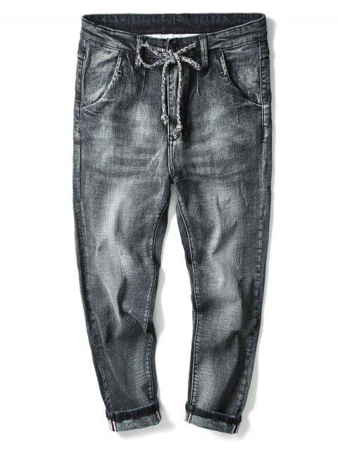 fancy Drawstring Zip Fly Light Wash Jeans - BLACK 40 Mobile