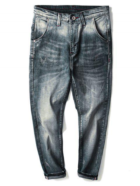 womens Zip Fly Light Wash Denim Pants - BLUE 40 Mobile