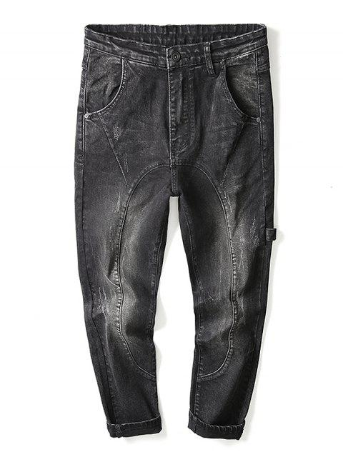outfits Zip Fly Strap Design Jeans - BLACK 40 Mobile