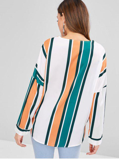 shops Striped Button Up Oversized Top - MULTI XL Mobile