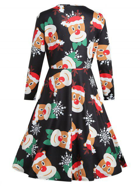 Plus Size Elk Print Christmas Dress - 黑色 L Mobile