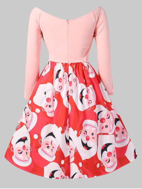 Christmas Santa Clause Print Fit and Flare Dress - 粉 2X Mobile