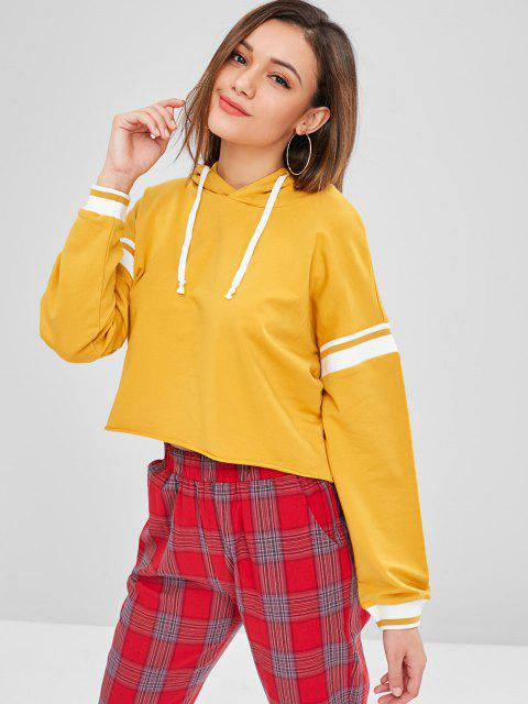 outfit ZAFUL Raw Hem Stripes Panel Hoodie - BEE YELLOW S Mobile