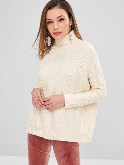 High Neck Cable Knit Sweater - Cream