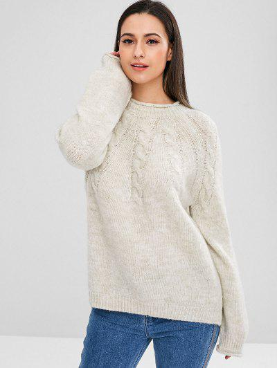 ZAFUL Raglan Sleeve Cable Knit Sweater - Cool White
