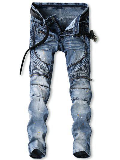 Zip Fly Splatter Paint Biker Jeans