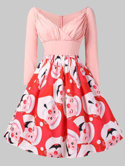Christmas Santa Clause Print Fit And Flare Dress - Roz 1x