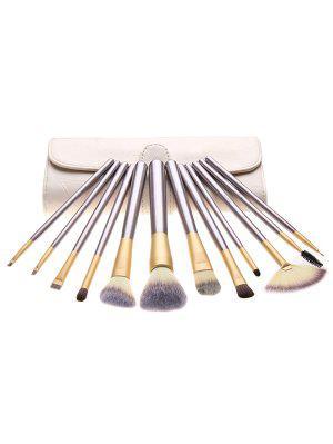 Portable 12 Pcs Ultra Soft Travel Makeup Brush With Brush Bag - Light Khaki Regular