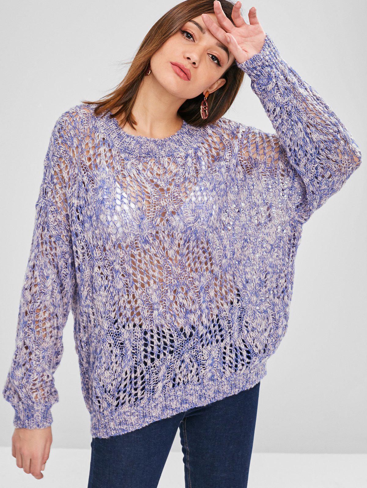 Openwork Drop Shoulder Oversize Sweater