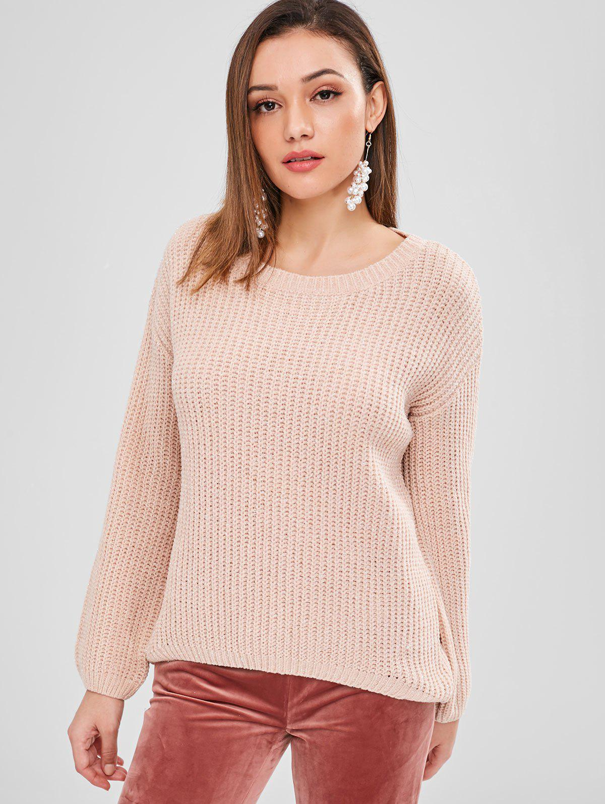 ZAFUL High Low Shiny Thread Sweater