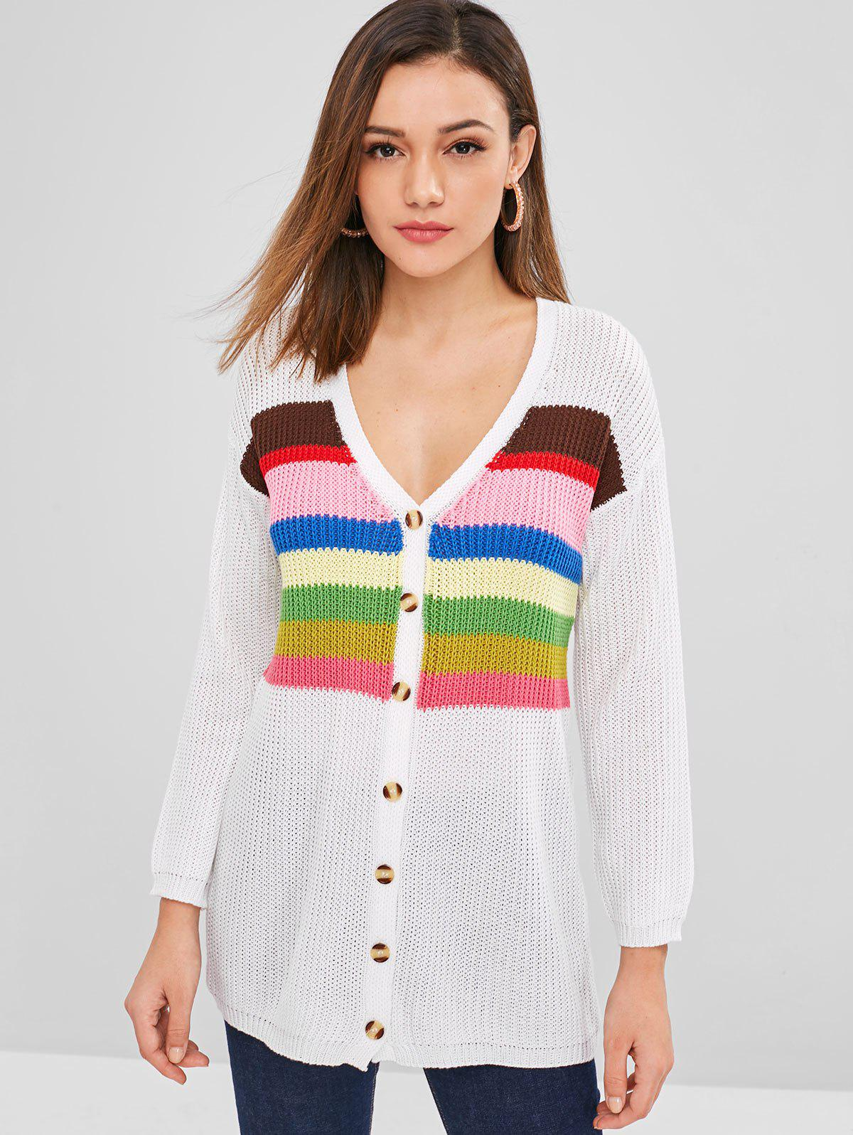 ZAFUL Button Up Colorful Stripes Cardigan