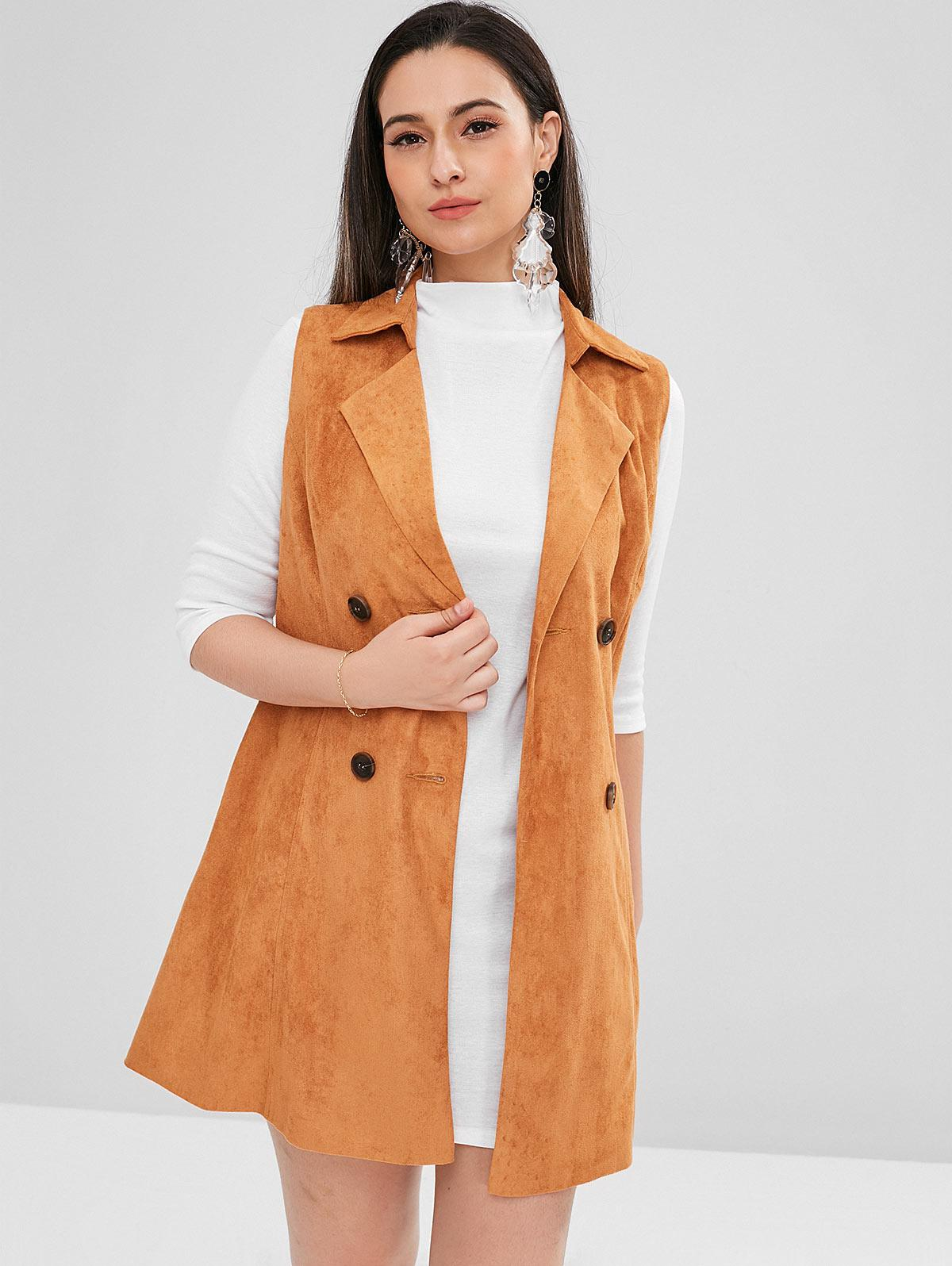 ZAFUL Double Breasted Faux Suede Waistcoat