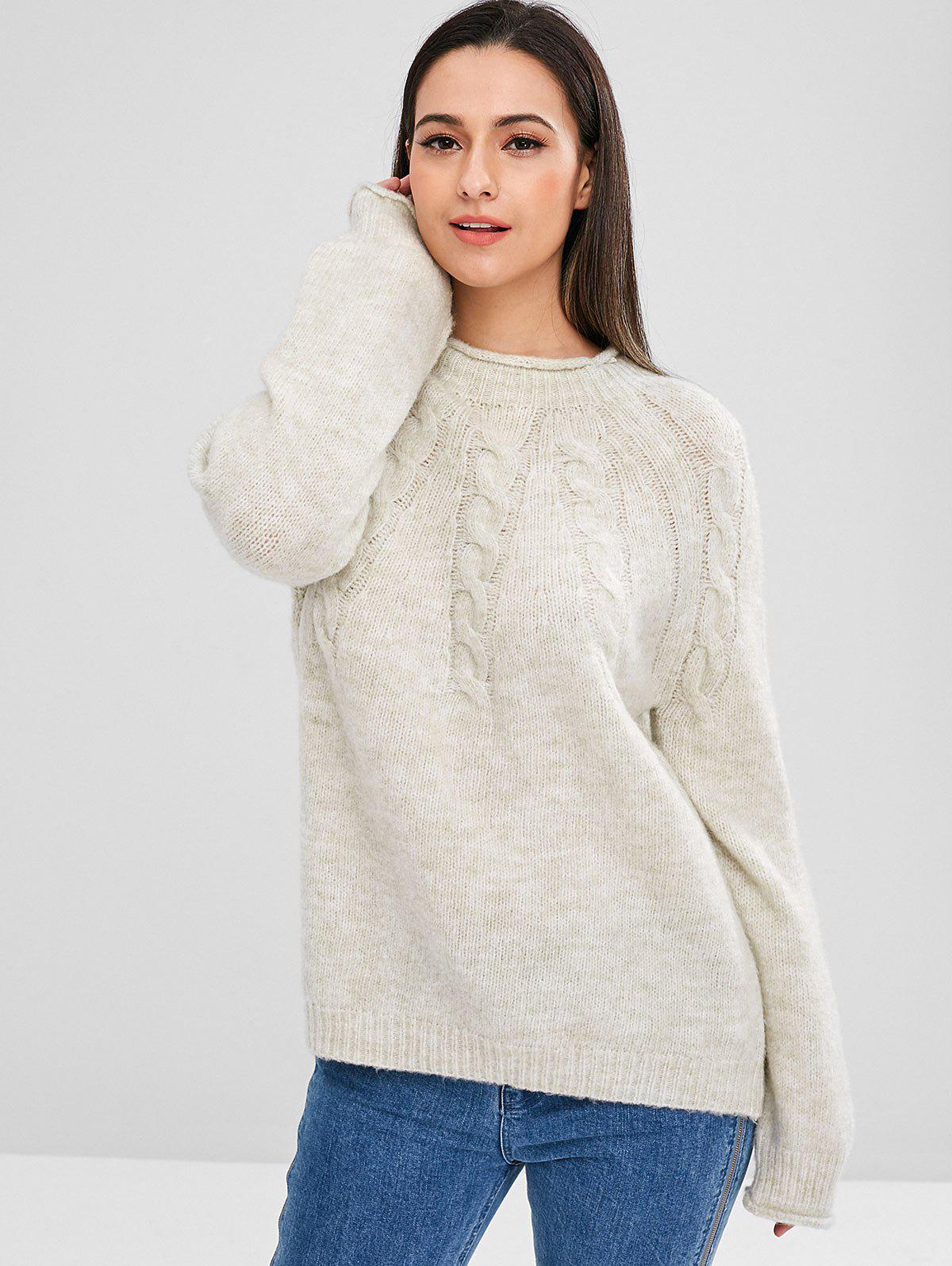 ZAFUL Raglan Sleeve Cable Knit Sweater