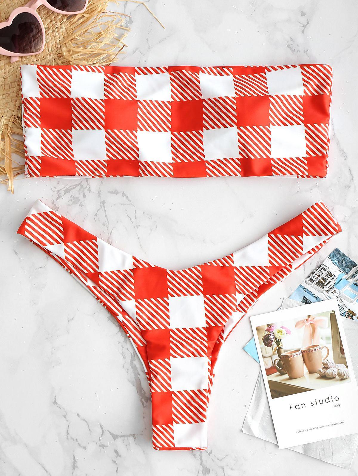 ZAFUL Plaid High Cut Bandeau Bikini Set, Multi-a