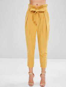 ZAFUL Belted High Waist Pants - أصفر فاقع S