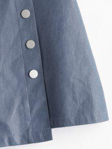 116c806569 28% OFF] 2019 Buttoned PU Leather Mini Skirt In BLUE GRAY | ZAFUL