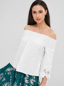 0891048d2e63e 30% OFF  2018 Smocked Off The Shoulder Flare Sleeve Top In WHITE M ...
