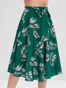 تنورة ميدي بطبعات - متوسطة البحر الخضراء M