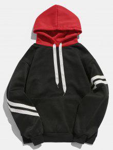 الكنغر جيب الصوف البلوز هوديي - أسود Xl
