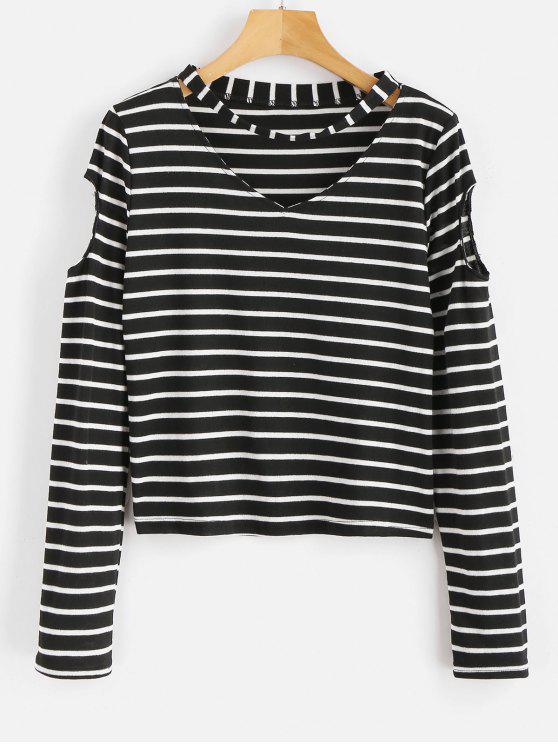 T-shirt à rayures - Noir XL