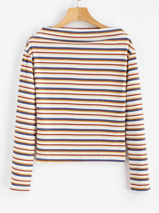 T-shirt Rayé à Col Bateau - Multi Taille Unique