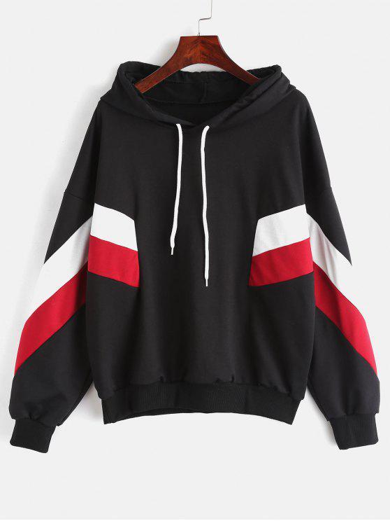 buy Drop Shoulder Patchwork Hoodie - BLACK M