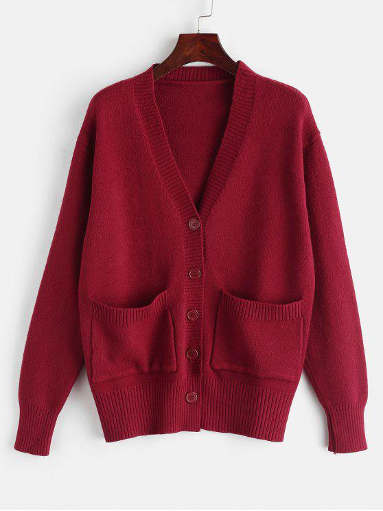 Cardigan en tricot simple boutonnage avec poche - Rouge Vineux S