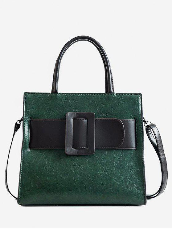 ladies Vintage Buckle Color Block Handbag - DARK GREEN