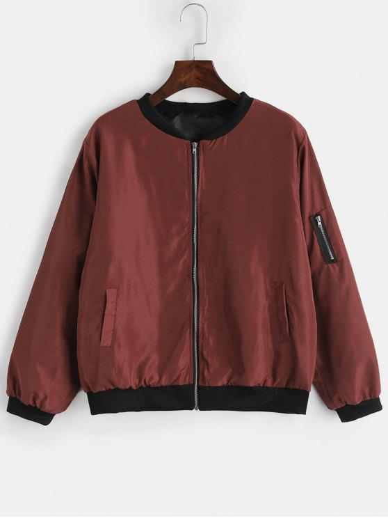 outfit Utility Pocket Bomber Jacket - RED WINE M