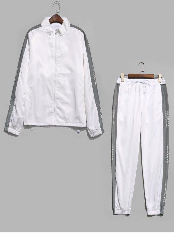 Veste Lettre Imprimée à Manches Raglan et Pantalon - Blanc M