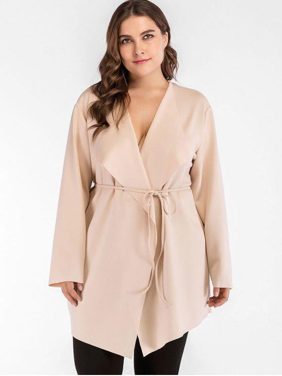 Belted Cascading Plus Size Trenchcoat - Champagner 3X