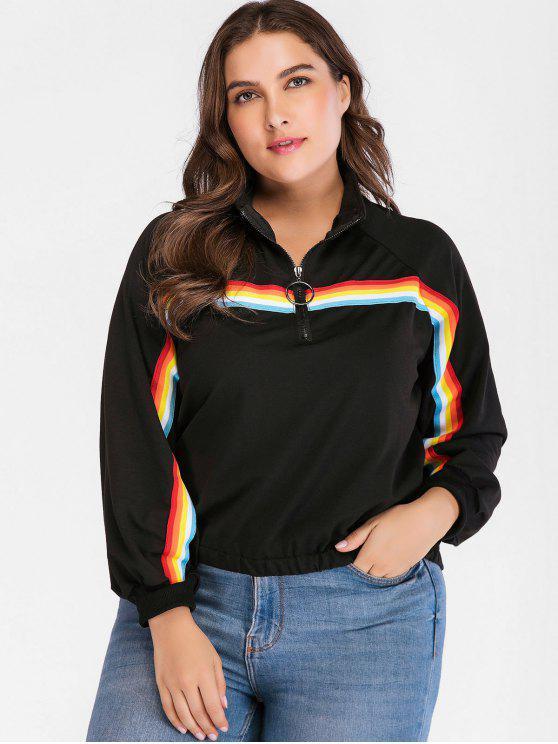 Rainbow Stripe Sweatshirt in Übergröße - Schwarz 3X