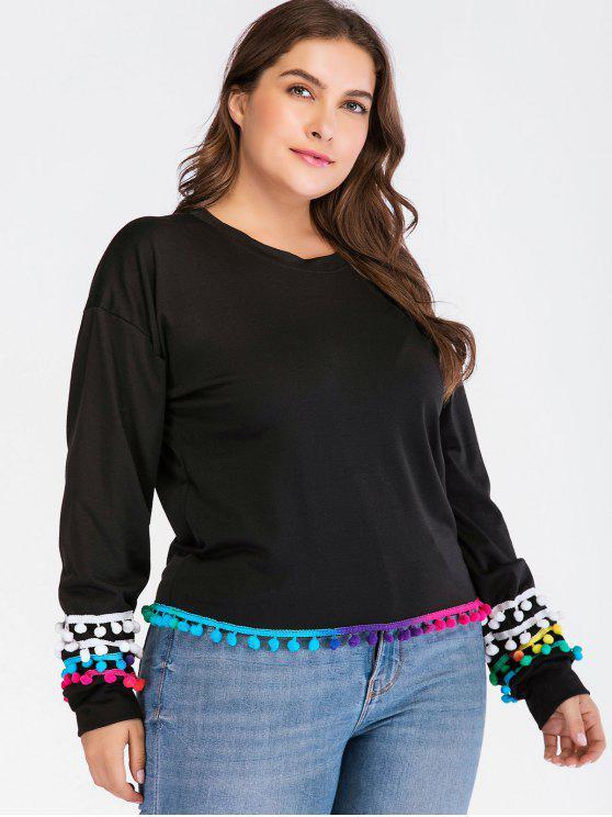 buy Colorful Pom Pom Plus Size Sweatshirt - BLACK 1X
